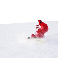 Weihnachtsmann fällt mit Snowboard runter
