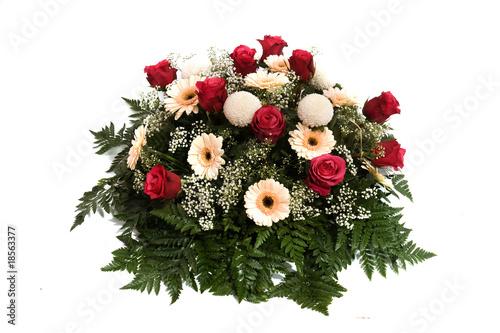 Foto op Canvas Gerbera magnifique composition florale sur fond blanc