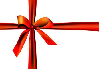 Roter Geschenkband mit Knoten
