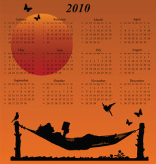 2010 calendar with woman reading in a hammock
