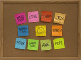 smiley and ten positive emotions on bulletin board poster