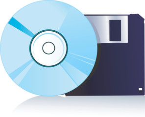 compact disc and floppy