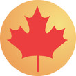 Maple leaf in a yellow round