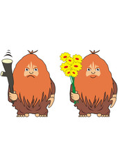 The cave man with a cudgel or with flowers