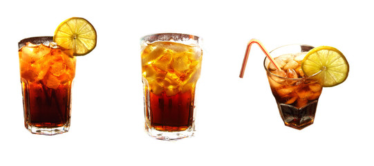 Three glasses of cola on white background