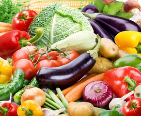 Colourful bright background consists of different vegetables