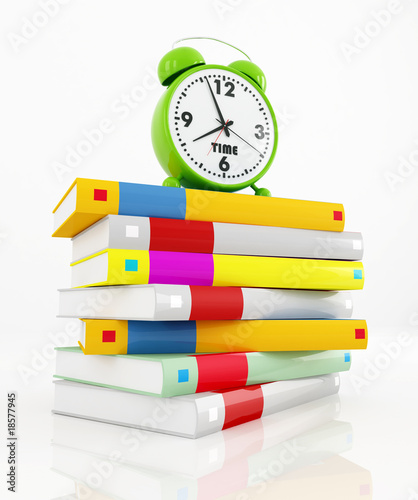 conceptual-green alarm clock at 8 over a stack of book