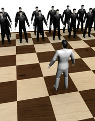 Abstract  businessmen chess game
