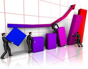 Group of businessmans bilding graph
