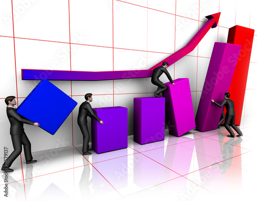 Group of businessmans bilding graph