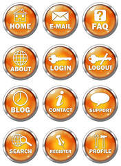 Set of 12 3D-style buttons, orange on white background