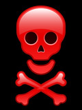 Red glossy skull with crossbones poster