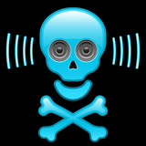 Glossy skull with speaker eyes and crossbones poster