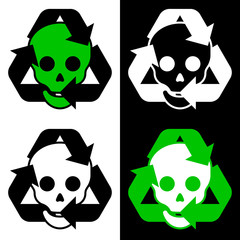 Recycling icon collection with skulls