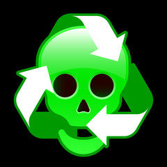 Glossy recycling icon with skull