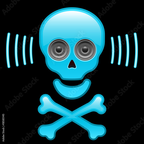 Glossy skull with speaker eyes and crossbones