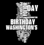 president day word collage on black background poster