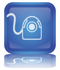 """ Webcam "" Button (square - blue - shiny - vector - reflection)"