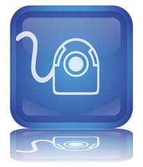 """ Webcam "" Button (square - blue - shiny - vector - reflection)"