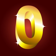 Number zero. Vector golden font