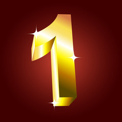 Number one. Vector golden font