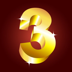 Number three. Vector golden font