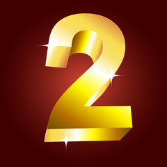 Number two. Vector golden font