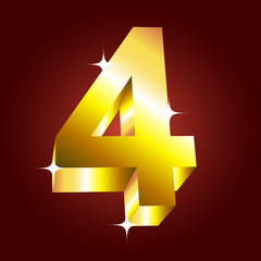 Number four. Vector golden font