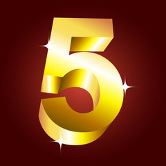 Number five. Vector golden font