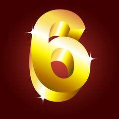 Number six. Vector golden font