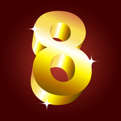 Number eight. Vector golden font