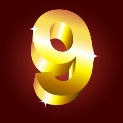 Number nine. Vector golden font