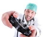 Doctor playing video games poster
