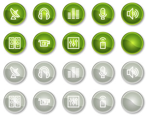 Media web icons, green and grey circle buttons series