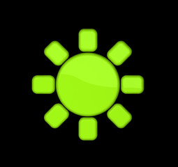 Icon of sun on the black background