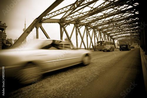 Fototapeten,autoverkehr,brücke,nacht,stadt