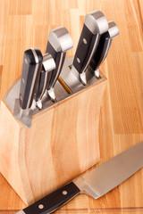 Set of kitchen knifes isolated on white