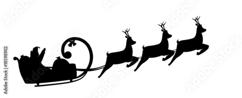 Silhouette illustration Santa Claus drives in a sleigh