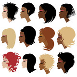 Vector set of trendy hair styling for woman poster