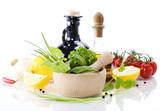 Olive oil, vinegar, Healing herbs and vegetables poster