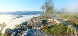 Morning cloudy view from top of Mangup ancient settlement poster