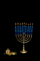 Hanukkah Menorah with Dreidel and Gelt