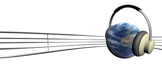 earth and music note
