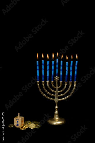 Hanukkah Menorah with Dreidel and Gelt