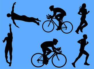 triathlon vector silhouettes