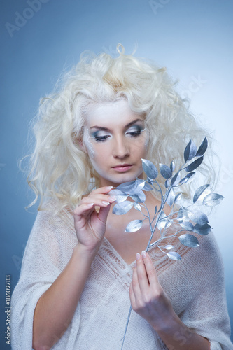 Snow queen with a magic twig