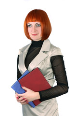 woman with two folders