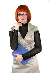 business woman in glasses and with a folder