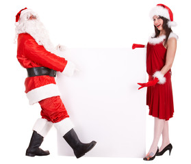 Christmas girl and santa claus with banner. Isolated.