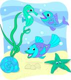 Fototapeta kreskówka - charakter - Ryba
